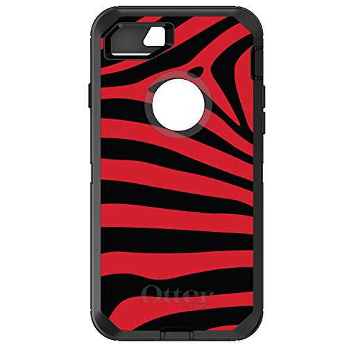 - DistinctInk Case for iPhone 7 Plus / 8 Plus - OtterBox Defender Black Custom Case - Black Red Zebra Skin Stripes