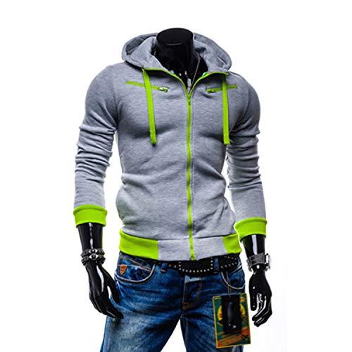 Kaured Fashion Man Hoodie SweatCardigan Men Casual Zipper SweatSlim Hoody Male SweatSportswear Hoodies 4XL0 Light Grey XXXL (Pista Roll)