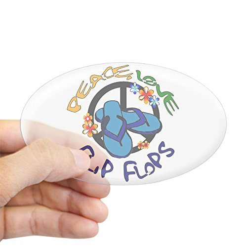 CafePress Peace, Love, Flip Flops Oval Sticker Oval Bumper Sticker, Euro Oval Car Decal