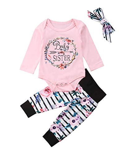 Newborn Baby Girl Clothes Baby Sister Romper Tops Floral Pants Bow-Knot Headband Outfits Set Bodysuit