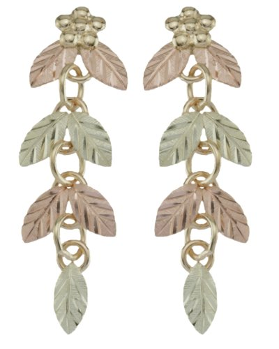 Floating Leaf Earrings, 10k Yellow Gold, 12k Green and Rose Gold Black Hills Gold Motif by The Men's Jewelry Store (for HER)