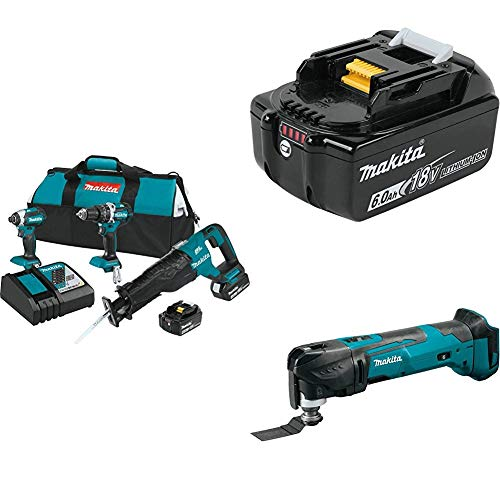 Makita XT328M 4.0 Ah 18V LXT Lithium-Ion Brushless Cordless Combo Kit, 3 Piece  w/ Makita BL1860B 18V 6.0 Ah Battery & Makita XMT03Z 18V LXT Lithium-Ion Cordless Multi-Tool, Tool Only