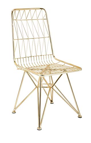 IMAX 16207 Larkin Chair - Metal Chair with Gold Finish, Iron Construction. Living Room Furniture (Wire Mid Century Chair)