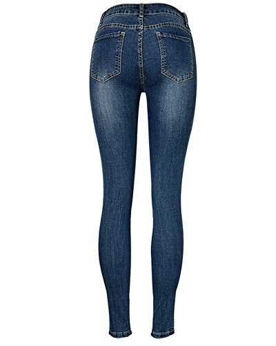 Denim Come Skinny Donna Immagine Pantaloni Leggings Sottili Lunghi Vita Jeans Stretch Alta Matita p4dqP4xw