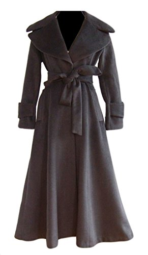 WSPLYSPJY Women's Elegant Lapel Solid Color Long Trench Coat A Line Swing Wool Blend Peacoat Black L A-line Cotton Trench Coat