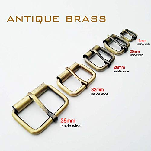 (Mercury_Group, DIY Metal Heavy Duty Hand Bag Shoe Strap Belt Web Adjust Roller Pin Buckle Snap Rectangle Ring Leather Craft Repair Thickness - (Size:Inner 26mm; Color:Antique Brass))