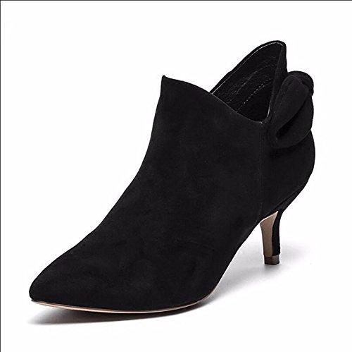 Se Zapatos Desglosa Punta En Botines Desnudas Negro De Medio Sigue Satén Coreana Mujeres De Silvestre 39 El 35 De Mujer Botas Y Como 5Cm 6 Botas KHSKX La Edición OqwCz7xOt