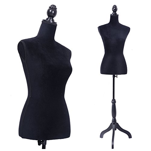 Black Female Mannequin Torso Clothing Display W/ Black Tripod Stand New from New Unbrand