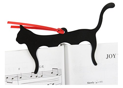 "Black Cat Page Holder Bookmark 5.75"" x 3.5"" Stainless Steel Black (2 Pack) - MEOW!"