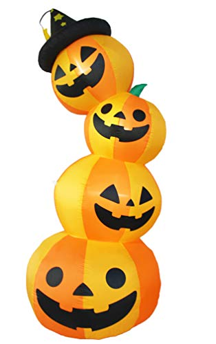 Bigjoys 8 Ft Halloween Inflatable 4 Pumpkin Stack Decoration Jack-o-Lantern Inflatables for Indoor Outdoor Home Yard Party