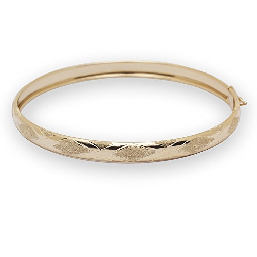 Solid 10k 8 Inch 6mm Yellow Gold Bangle Bracelet - Jewelr...