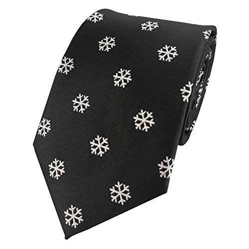 Mens Exquisite Woven Tie White Snowflake Necktie (Black)
