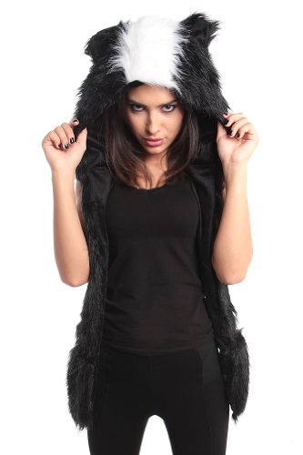 Faux FUR ANIMAL HATS HOODS SKUNK Ski WITH MITTENS UNISEX ...