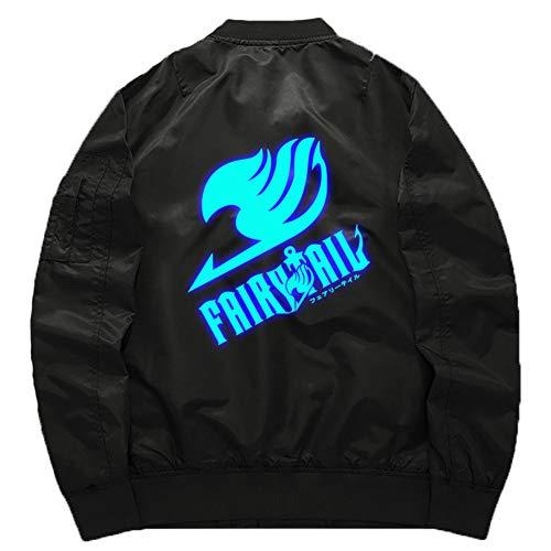 - Gumstyle Fairy Tail Anime Bomber Flight Jacket Unisex Zip Up Thicken Baseball Short Coat Luminous Thicker 2-L