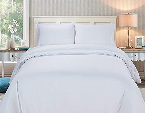 Deluxe 2600 Series 3 Piece Duvet Cover Set Button Closure, Wrinkle, Fade and Stain Resistant 2 Pillow Sham, White King 92