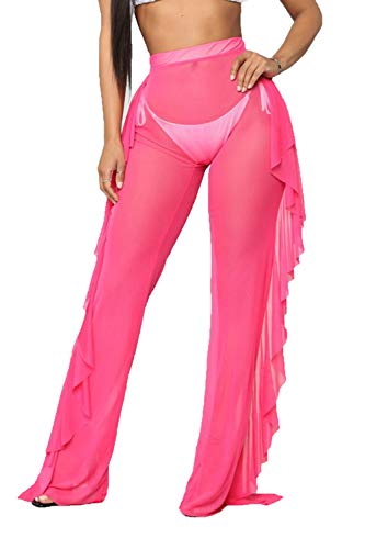 Pink Ruffle - Doqcey Women's Perspective Sheer Mesh Ruffle Pants Swimsuit Bikini Bottom Cover up (Y hot Pink, Large)
