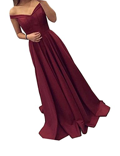 (YuNuo Women's 2019 Burgundy Off-Shoulder A Line Long Prom Homecoming Dress Evening Gowns S12Burgundy-US14)