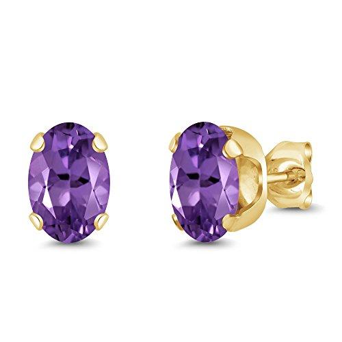 Gem Stone King 1.50 Ct Oval 7x5mm Purple Amethyst 18K Yellow Gold Plated Silver Stud Earrings