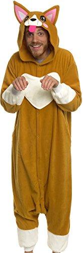 Silver Lilly Unisex Adult Pajamas - Plush One Piece Cosplay Corgi Animal Costume (Corgis In Costumes)