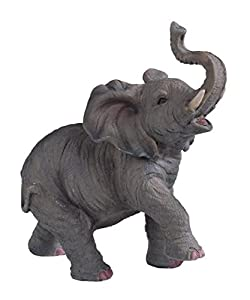StealStreet SS-G-54135 Small Polyresin Elephant With Trunk Up Figurine Statue, 6.5""