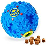 IDuyo Interactive Dog Ball Toy, Life IQ Treat Ball Food Dispensing Dog Toy Teeth Cleaning Ball Training Ball, Non-Toxic Durable Rubber Playing Chew Toy Balls (Small/Blue)