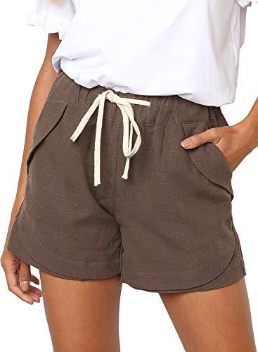 (Dokotoo Womens Ladies Female Fashion Drawstring Loose Mid Rise Linen Shorts Elegant Elastic Waist Comfy Cotton Beach Linen Shorts Pants Khaki Large)