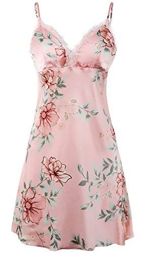 BellisMira Women's Floral Satin Slip Silk Sleepwear Lace Chemise V-Neck Nightgowns,Pink,S