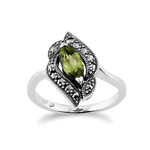 Gemondo Sterling Silver 0.52ct Peridot & 0.19ct Marcasite Art Nouveau Style - Silver Marcasite Ring
