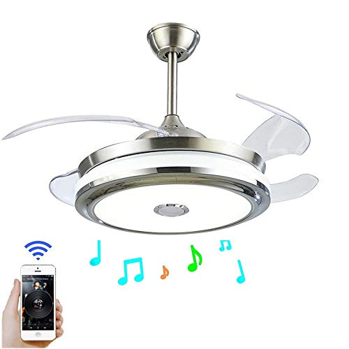 Fandian 42'' Modern Ceiling Fans with Light Smart Bluetooth Music Player Chandelier 3 Colors 3 Speeds Invisible Blades with Remote Control, Silent Motor with LED Kits Included (42inch-1) (Retractable Blade Fan)