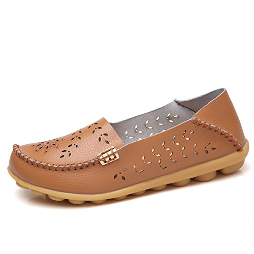 NiNE CiF Womens Casual Flats Hollow Out Leather Slip On Driving Loafers(7.5 B(M) US,Tan)