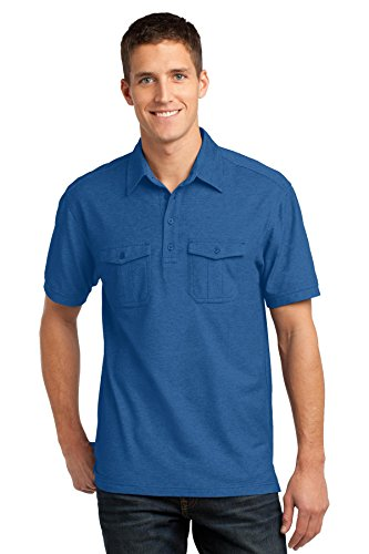 Port Authority Men's Oxford Pique Double Pocket Polo M Marina Blue/True - Two Knit Pockets