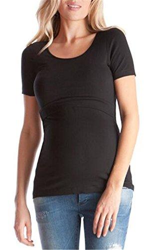 Comoda Black Donna Semplice Elegante Puro shirt L'allattamento Bluse Maglietta Premaman Besthoo Corta Femminili Colore Top Manica Girocollo Gravidanza T pFaRF1wq