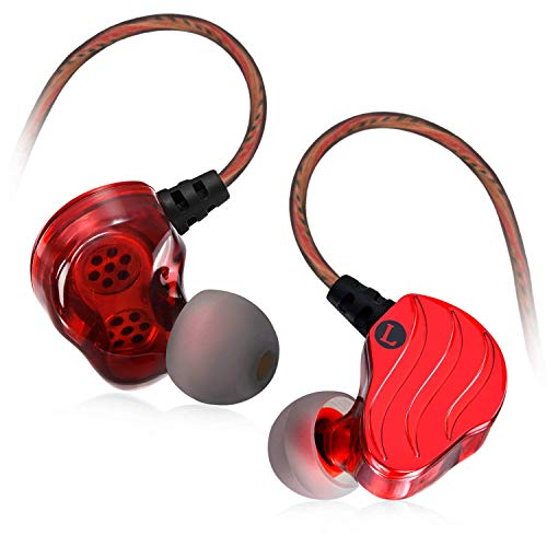 Earbuds with Microphone, Bambud Wired in Ear Headphones Earphones Stereo Dual Dynamic Drivers Ear Buds with Mic and Remote, Over Ear Noise Isolating Sports Headsets