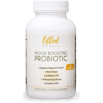 Probiotic - Mood Boosting Probiotic - Anxiety Formula w/ GOS Prebiotic - Probiotics for Gut Health - Digestive + Immune Blend - Prebiotics for Mental Support