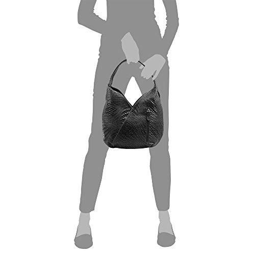 e laccato Pelle donna shopping bag pelle motivo 33 intrecciato Firenze nbsp;x nbsp;x vera Vera genuino Borsa Italy Made Italiana 33 Borsa colore pelle da incisione Artegiani in 18 geometrico nero con nbsp;cm nero xBqXawT