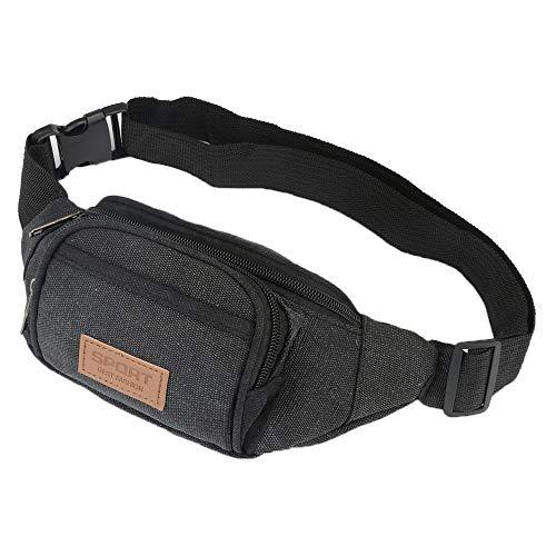 Fanny Pack, LODIIYAR Adjustable Quick Release Buckle Travel Sport Canvas Waist Bag Fanny Pack for Men, Women, Black