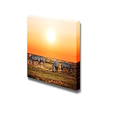 Canvas Prints Wall Art - Zebras Herd on Savanna at Sunset, Africa | Modern Wall Decor/Home Art Stretched Gallery Canvas Wraps Giclee Print & Ready to Hang - 24