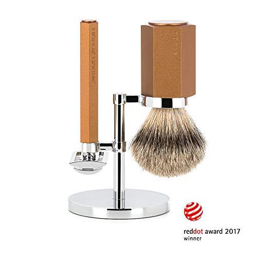 MÜHLE HEXAGON Bronze Silvertip Badger 3-Piece Shaving Set