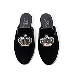 Velvet Slippers With Rhinestone