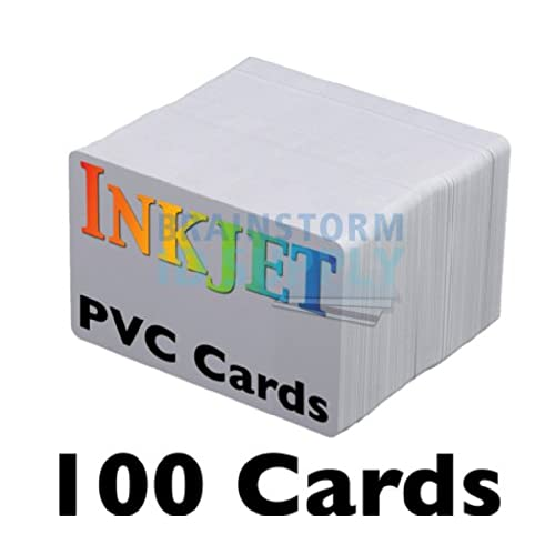 Id card printer amazon inkjet pvc cards 100 pack inkjet printable pvc id cards with brainstorm ids enhanced ink receptive coating waterproof and double sided printing reheart Image collections