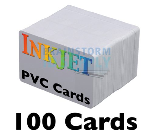 Printed Id Card (Inkjet PVC Cards (100 Pack) - Inkjet Printable PVC ID Cards with Brainstorm ID's Enhanced Ink Receptive Coating - Waterproof and Double Sided Printing - Works with Epson and Canon Inkjet Printers)