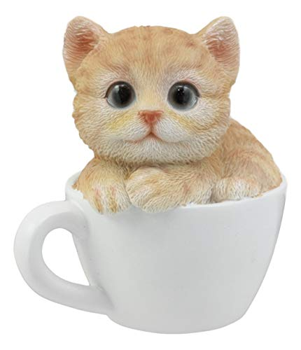 Ebros Lifelike Orange Tabby Cat Teacup Pet Pal Statue for sale  Delivered anywhere in USA