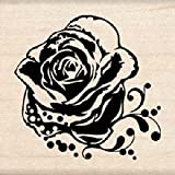Rose Wood Mounted Rubber Stamp