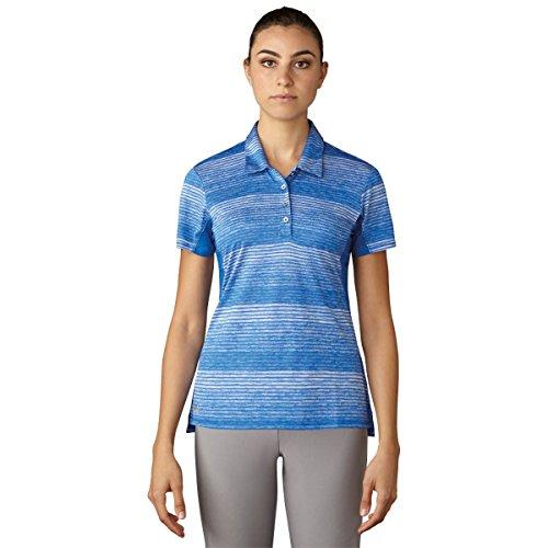 adidas Golf Women's 3-Stripe Short Sleeve Novelty Polo T-Shirt, Blue, X-Small