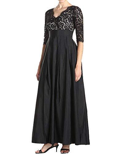 Pizzo Hx Mezze Taglie Convenzionali Da Lungo Nero Comode Alta Fashion Abiti  Maxi Abito Festa Maniche V Sera Splicing Dress A Elegante Vita Vintage ... dc32d09897e