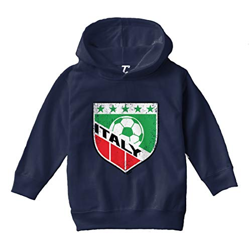 Tcombo Italy Soccer - Distressed Badge Toddler/Youth Fleece Hoodie (Navy Blue, 2T (Toddler))