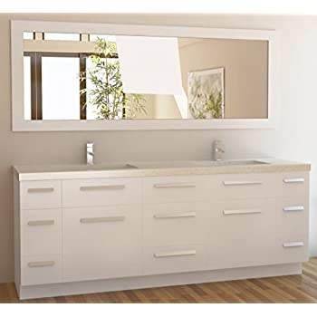 Design Element Moscony Double Sink Vanity Set With White Finish, 84 Inch