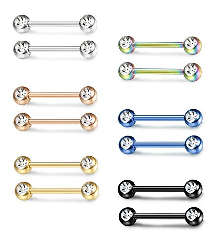 ORAZIO 6 Pairs 316L 14G Surgical Stainless Steel Nipple Ring Tongue Body Bars Piercing Ring for - Tongue Steel Ring Polished Barbell