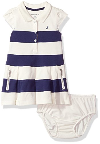 Baby Pique Polo - Nautica Bab Baby Girls' Newborn Shawl Collar Pique Dress,Cream Stripes,18 Months