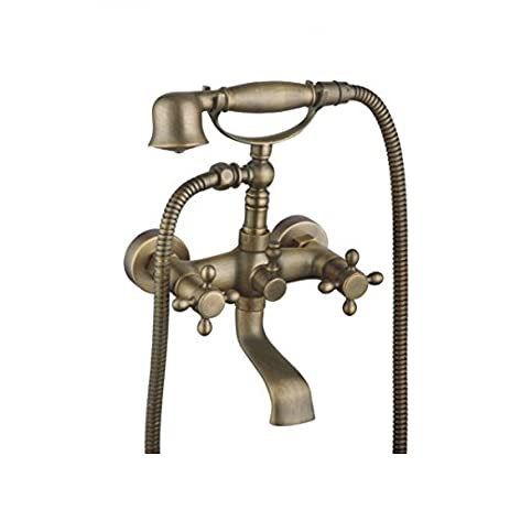 Amyfaucet Brass Wall Mounted Shower Set Bathtub Faucet with Hand ...